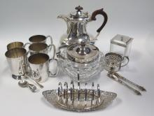 A Selection of Electroplated Silver Ware including coffee pot, toast rack e