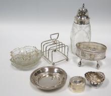 A Selection Silver Ware including Sugar Shaker, Salt, Toast Rack etc.
