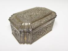 A Fine Indian White Metal Box intricately decorated with figures and animal