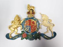 A Cast Lead and Painted Royal Coat of Arms