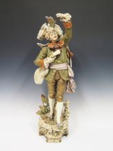 A Large Royal Dux Figure of a Minstrel, 80cm