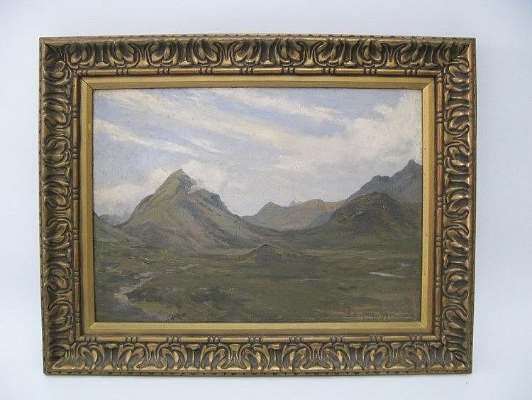 Sam Pope, Mountainous Scene, oil on board, 34.5 x