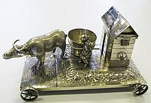 A Chinese Silver Cruet Modelled As a Farm Scene