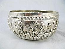 An Burmese Silver Bowl with repousse decoration of