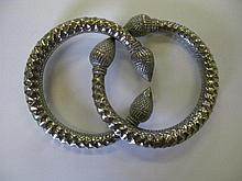A Pair of Indian White Metal Anklets