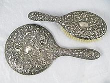 A George V Silver Backed Hand Mirror with floral