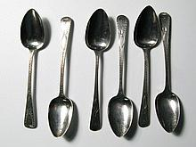 A Set of Six Silver Tea Spoons with Bright Cut