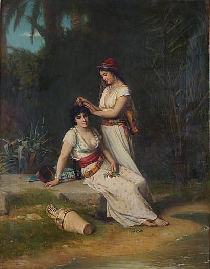 Jules RICHOMME-1818-1903 Jeunes orientales à leurs