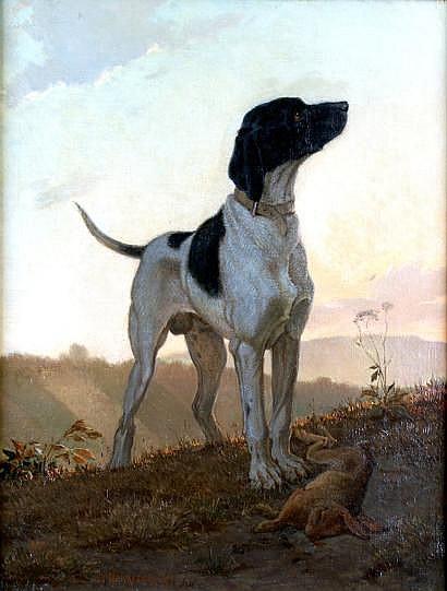 Charles HERRMANN-LÉON-1838-1908 Braque près d'un