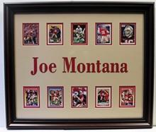 Joe Montana Custom Framed Memorabilia W/ 10 Authentic Player Cards