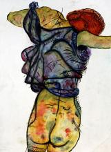 Woman 1910' - Watercolor on Paper - Egon Schiele