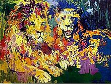 Lion and Cub - Lithograph - Leroy Neiman