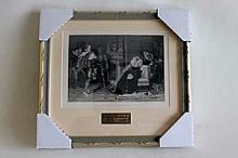 C. Piloty - The Death Warrant, Mary Queen of Scots - Original Woodblock