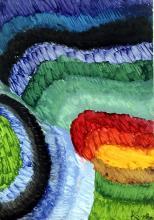 Composition V - Oil Painting on Paper - Frantisek Kupka