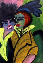 Two Woman 1924' - Oil on Paper - Ernst Ludwig Kirchner