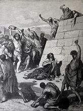 The Dore Bible Gallery pg. 94 - Martyrdom of St. Stephen