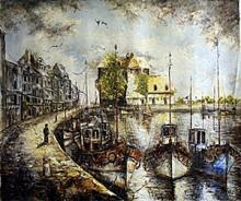 V. Levieils - Lequai Du Vieux Port - Original Acrylic on Canvas