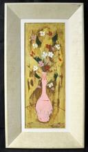 St. Jacut - Narrow Still Life with Vase - Original Oil on Panel