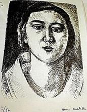 Lithograph Tete De Jeune Fill E Au col Organdi after Henri Matisse
