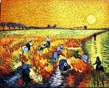 Harvest at Sunset - Oil on Cavnas - Vincent Van Gogh