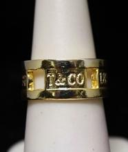 Lady's Beautiful 14kt Gold over Silver T & Co. Band (279I)
