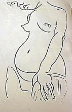 Lithograph Nu Au Visage Couple after Henri Matisse