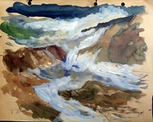 Rapid Waters - Original Painting by F. Waugh