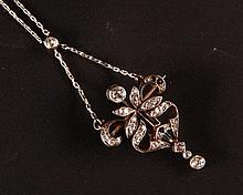 Art Nouveau Pendant with Diamonds