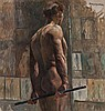 Izsák Perlmutter (1866-1932) Male Back Nude