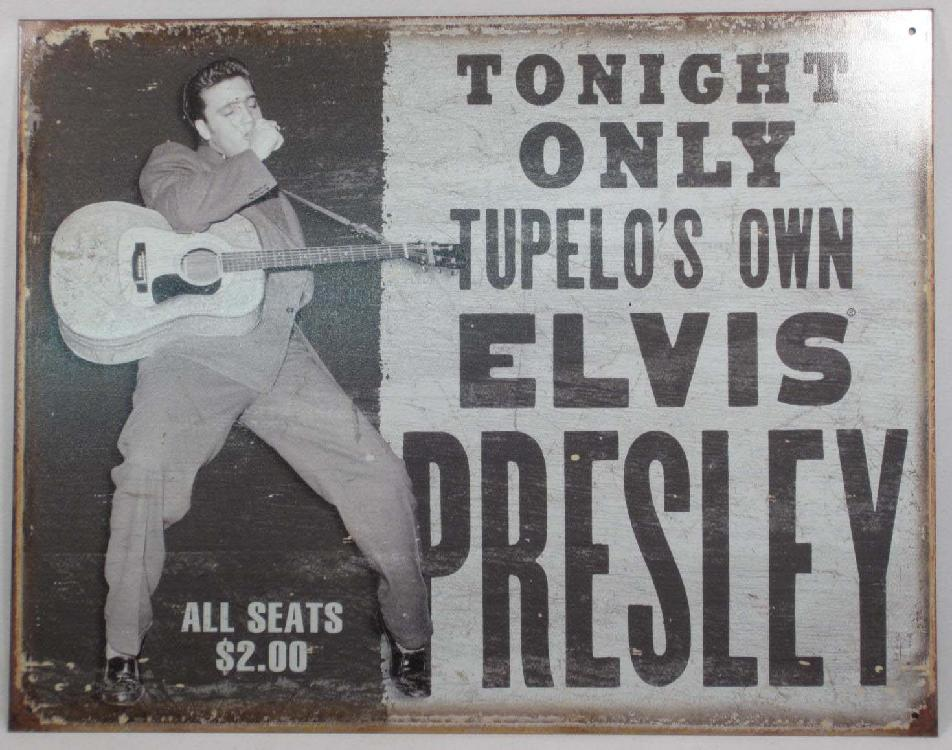 "9826 - ELVIS METAL SIGN APPROX. 12 ""1/2 x 16"