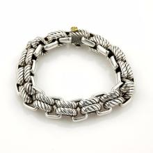 David Yurman Double Anchor Empire Link Sterling Silver & 18k Bracelet 101 grams