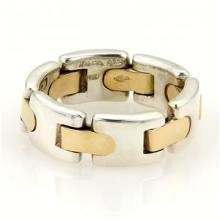 Tiffany & Co. Italy Vintage 18k Yellow Gold Sterling Silver Flex Band Ring SZ 6
