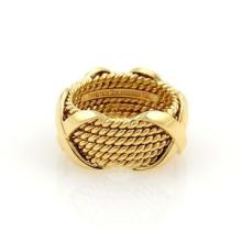 Tiffany & Co. Schlumberger 18k Yellow Gold X Design 11mm Band Ring Size 7