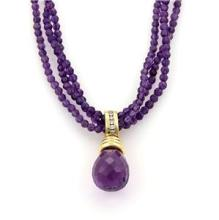 Diamonds Amethyst Pendant & Beaded 3 Strand 14k Yellow Gold Necklace
