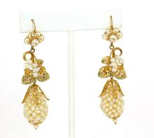 STUNNING 10K YELLOW GOLD & FRESHWATER PEARLS LADIES FLORAL MOTIF DANGLE EARRINGS