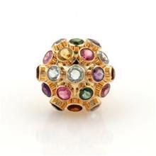 Retro Era Multi-Color Gems & 18k Rose Gold Sputnik Dome Ring Size 5