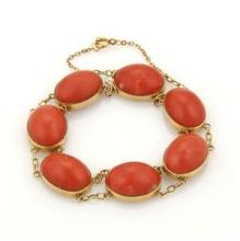 Vintage Oval Cabochon Genuine Coral & 14K YGold Double Chain Link Bracelet