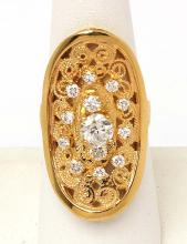 Estate 18k Yellow Gold 1.30ctw Diamond Oval Shape Open Design Cocktail Ring