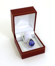 New 9.02ct Diamond & Tanzanite Pear Shape 18k White Gold Cocktail Ring Size 6.5