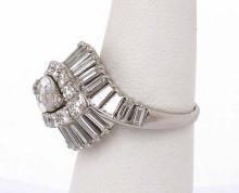 Estate Platinum 5.10ctw Marquies Baguette & Round Diamond Ladies Cocktail Ring