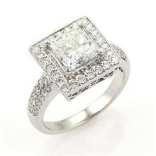 Princess Cut 2.03 H VS1 Diamond Solitaire wAccent 18k Gold Ring GIA Certificate