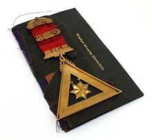 Vintage Collectible Masonic 14k Yellow Gold 1916 Ribbon Large Pin