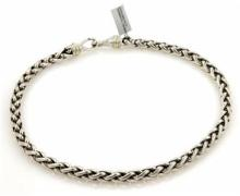 David Yurman Sterling Silver & 14k Yellow Gold Wheat Woven Necklace