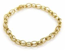 David Yurman 18k Yellow Gold Wire Design Loop Link Chain Necklace