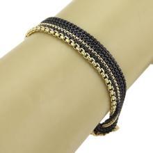 David Yurman Black Diamonds 925 Silver & 18K YGold Multi-Chain Bracelet