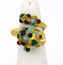 Vintage Retro 18k Yellow Gold Ruby & Multi-Color Enamel Dragon Bypass Ring