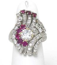 Estate Vintage Platinum 4.50ctw Diamond & Ruby Fancy Design Ladies Cocktail Ring