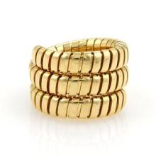 Bulgari Bvlgari Tubogas 18K Yellow Gold 15mm Flex Wrap Band Ring Size 6