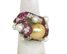 Pretty 4.15ct Diamonds Pink Sapphires & South Seas Pearl 18k Gold 3D Snake Ring