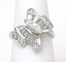 Vintage Platinum 1.60ctw Marquise Round & Baguette Cut Diamond Butterfly Ring